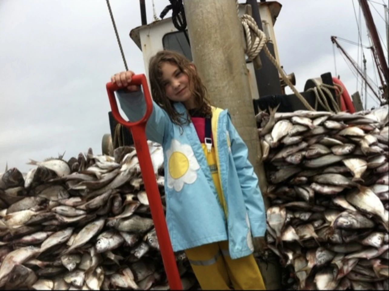 Olivia unloading a boatload of fish as a little girl.