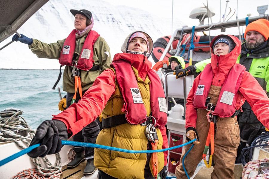 The crew  at sea