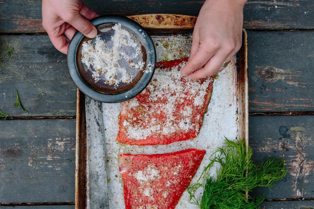 Salmon coated with salt mixture.
