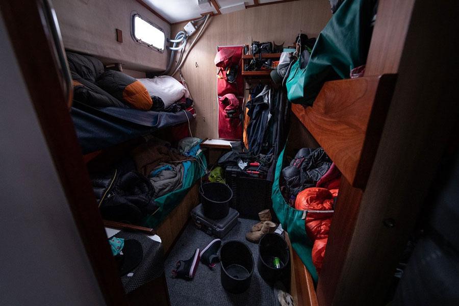 Below deck in the bunk room