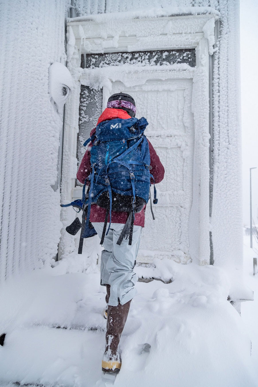 Trekking with gear in the snow